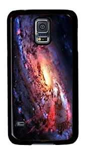 Rugged Samsung Galaxy S5 Case and Cover - Swirling Galaxy Custom Design PC Case Cover for Samsung Galaxy S5 - Black