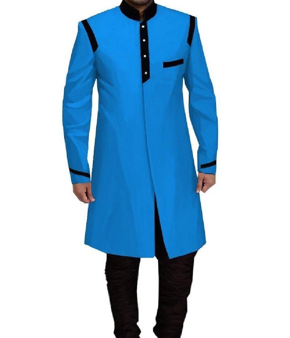 Mfasica Men Midi Africa Dashiki Trench Coat Jacket Leisure Windbreakers 18 XS