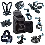 Action Camera Accessories Bundle by USA Gear including Camera Bag w/ Customizable Dividers, 9-in-1 Mount Kit & Body Straps - works with GoPro HERO 4 , GeekPro 2.0 , SJ4000 & Many Other Cameras!