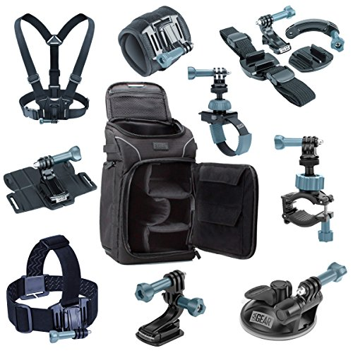 Action Camera Accessories Bundle by USA Gear including Camera Bag w/ Customizable Dividers, 9-in-1 Mount Kit & Body Straps - works with GoPro HERO 4 , GeekPro 2.0 , SJ4000 & Many Other Cameras! by USA Gear