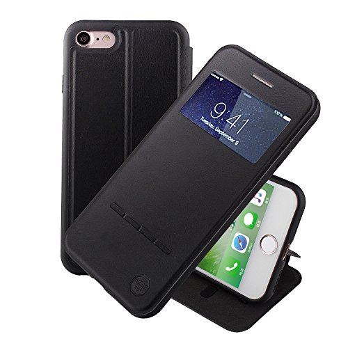 Nouske Swipe Case for iPhone 7iPhone 8 with Stand/Window View/Magnetic Closing/TPU Bumper/Flip Full Cover Black
