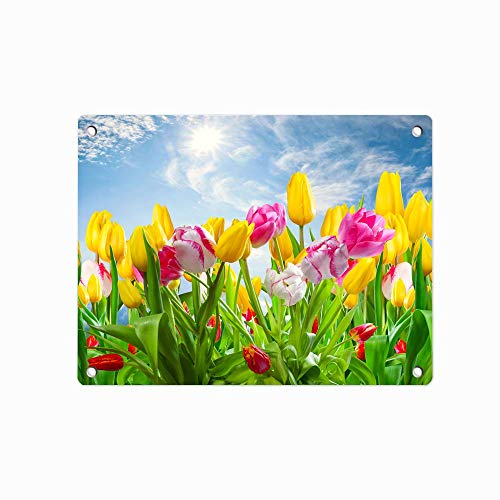 """Spring Sunshine Tulips Pink Yellow Flowers Decorative Metal Tin Sign, Tin Poster, Wall Ornament Coffee Decor Art, Size 12"""" X 8"""""""
