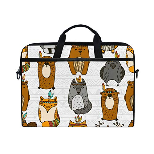 HELVOON Cartoon Owl Raccoon Pattern Laptop Shoulder Messenger Bag Computer Briefcase Business Notebook Sleeve Cover Carrying Handle Bag for 14 inch to 15.6 inch