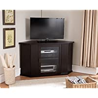 Kings Brand 47-Inch Walnut Wood Corner TV Stand Entertainment Center With Cabinets Storage Shelves