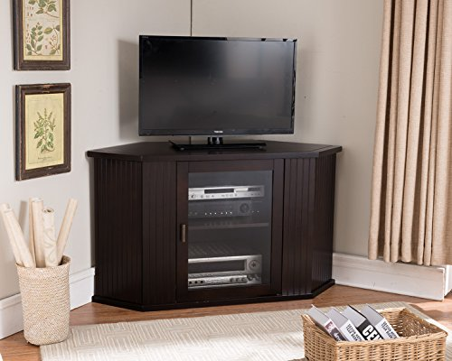 Kings Brand 47-Inch Walnut Wood Corner TV Stand Entertainment Center With Cabinets Storage Shelves by Kings Brand Furniture
