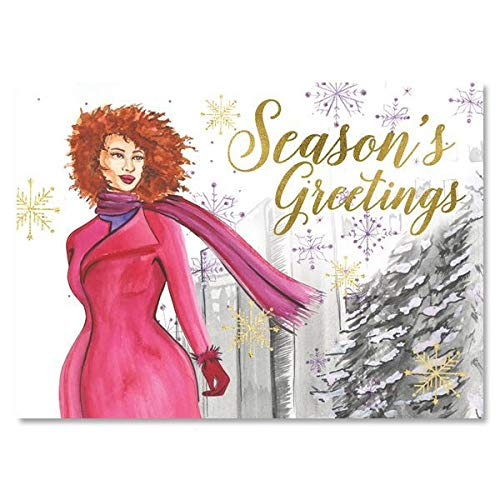 """Search : African American Expressions - Season's Greetings/Purple Snowflakes Boxed Christmas Cards (15 cards, 5"""" x 7"""") C-948"""
