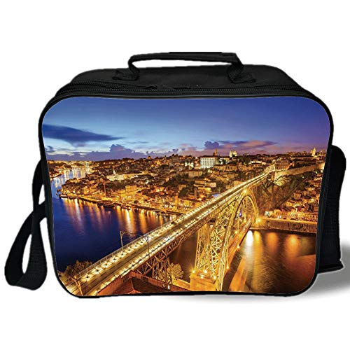 (Insulated Lunch Bag,City,Porto Dom Luis Bridge at Night River Portuguese Coast Mediterranean View Decorative,Apricot Violet Blue,for Work/School/Picnic, Grey)