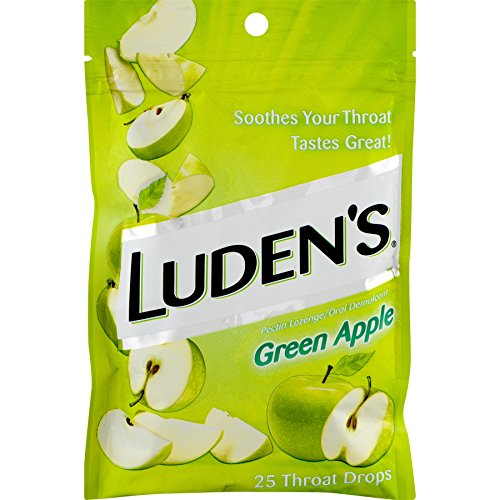 Luden's Green Apple Throat Drops | Deliciously Soothing | 25 Drops | 1 Bag
