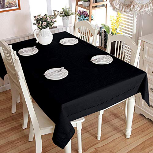 Lushomes Plain Pirate Black Holestitch Cotton for 4 Seater Black Table Covers
