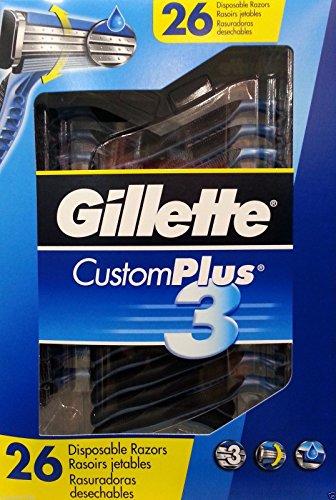 4 Disposable Razors - Gillette Men's Custom Plus 3 Disposable Razor 26 CT.