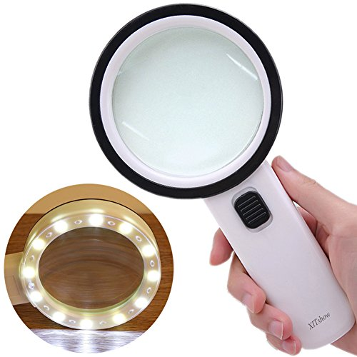 30X Magnifying Glass with Light, High Power Handheld Lighted Magnifier with Large Double Glass Lens Led Magnifiers for Seniors Reading, Coins, Stamps, Map,Inspection, Macular Degeneration by XITshow