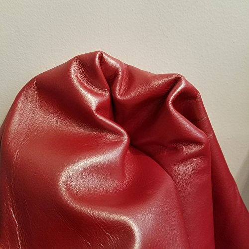 NAT Leathers Red Shimmer Soft Nappa Leather 2.0-2.5 upholstery craft, shoe, bookbinding Handbag Cowhide Genuine Cow Leather Hide Skin (12 inch x 20 inch)