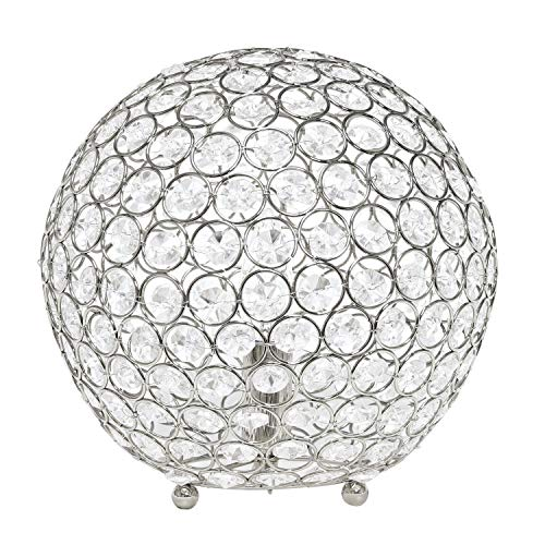 - Elegant Designs LT1067-CHR Elipse 10 Inch Crystal Ball Sequin Table Lamp, Chrome