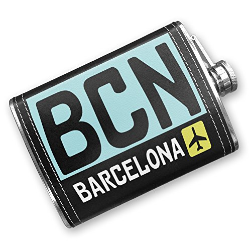 8oz Flask Stitched Airport code BCN / Barcelona country: Spain Stainless Steel - Neonblond by NEONBLOND