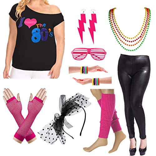 Plus Size 80s Fancy Outfit Costume Set with Leather Leggings for Womens (2X/3X, Hot Pink) -