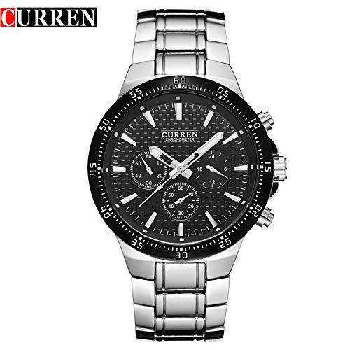 MOZISEN Relojes de Vestir CURREN8063 Reloj de Hombre de Acero de Tres Ojos Falsa de Hombres