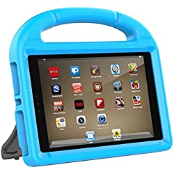 HETBEES Fire HD 8 2017 Case - Light Weight Shock Proof Handle Friendly Convertible Stand Kids Case for Fire HD 8 inch Display Tablet (7th Generation,2017 Release)-Blue