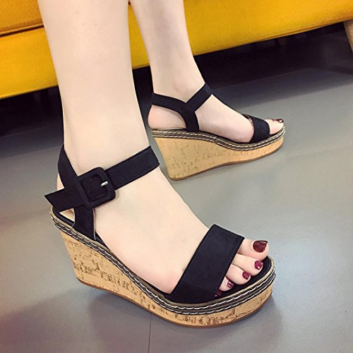 - Gotd Women Fish Mouth Sandals High Heels Wedge Platform Slim Strap Buckle Slope Flip Flop Bohemian Slide Thongs Slipper Clip Toe Soft Girl Indoor Outdoor Beach Shoes (US:4.5, Black)