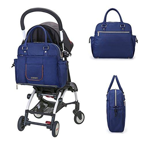 mommore nailon bolsa transversal bolso cambiador Bolso para pañales con cambiador, con correa para el hombro, cochecito Ganchos azul azul oscuro azul oscuro
