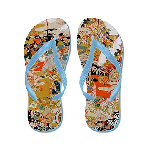 Cafepress Lyxiga Antik Japansk Kimono För F - Flip Flops, Roliga Rem Sandaler, Strand Sandaler Caribbean Blue