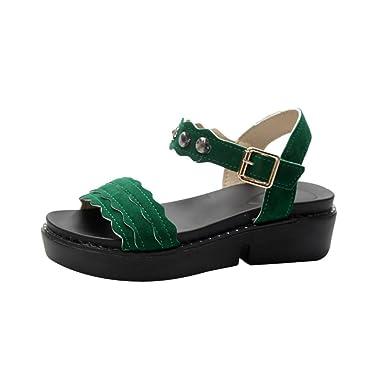 OYSOHE Damen Sandalen Frauen Round Toe Rutschfeste Plattform High Heels Sandalen Schnalle Flache