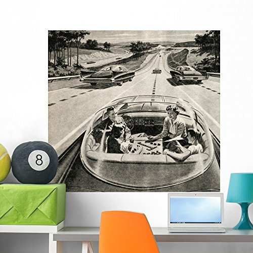 Family Playing Game While Wall Mural by Wallmonkeys Peel and Stick Graphic (36 in W x 34 in H) - Style 50s Futuristic