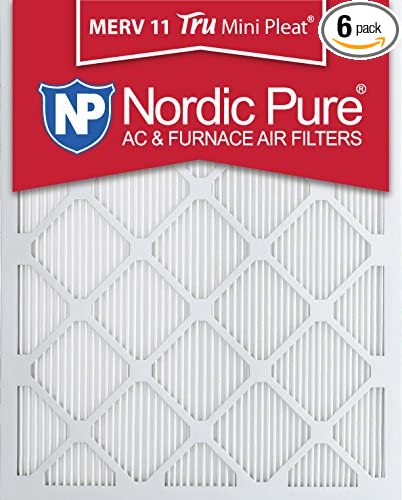 Nordic Pure 14x20x1 MERV 11 Tru Mini Pleat AC Furnace Air Filters 6 Pack 14-Inch x 20-Inch x 1-Inch