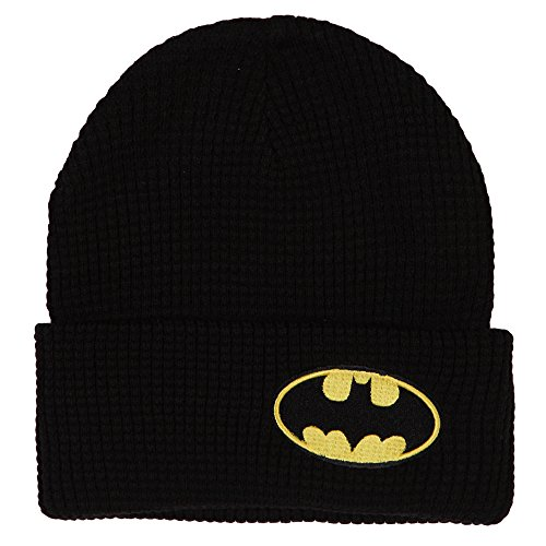 DC Comics Batman Side Logo Knit Cuff Beanie Black (Knit Beanie Logo)