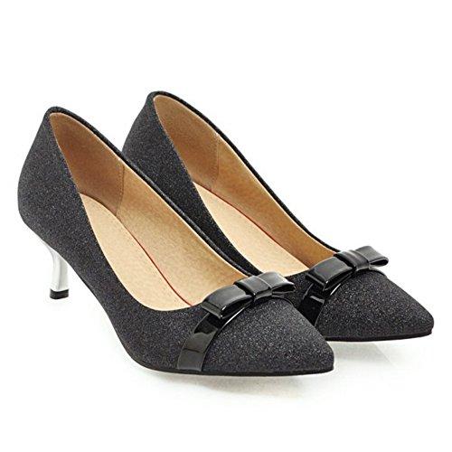 Pumps TAOFFEN Elegant Black Kitten Ladies Heel vqCwxZaBqI