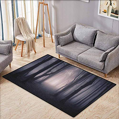 Bath Rug Slip Farm House Decor Path Through Dark Deep in Forest with Fog Halloween Creepy Twisted Branches Picture Pink and Brown Easy to Clean W5'2 xL4'6