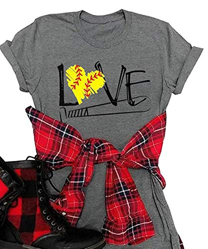 - Love Baseball Shirts for Women Softball Lover Tshirt Short Sleeve Casual Tee Tops Size L (Grey)