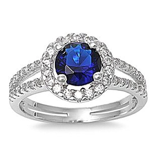 ALL NATURAL GENUINE GEMSTONE- 6mm 1.15ctw Sterling Silver Solitaire SEPTEMBER BLUE SAPPHIRE ROUND BIRTHSTONE Channel Band Pave Cz Accents Ring 5-10 (10) by The Ice Empire Jewelry