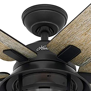 Hunter Fan 54 inch Casual Weathered Zinc Indoor Ceiling Fan with Light Kit and Remote Control Renewed