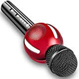 Moresky Karaoke Microphone Bluetooth Speaker Wireless Handheld Mic Campatible for Apple iPhone Android Samsung Smartphone iPad Home KTV Singing, Support Music APP & TF Card