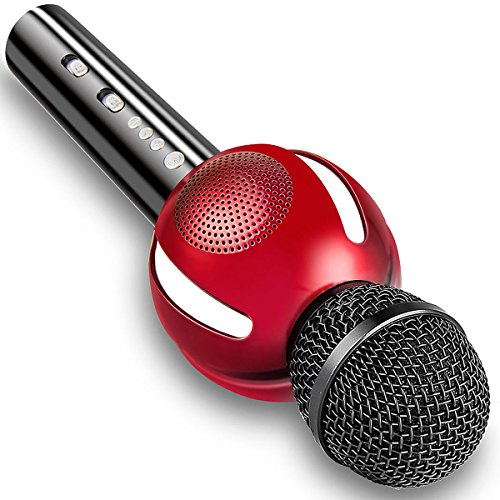 Moresky Karaoke Microphone Bluetooth Speaker Wireless Handheld Mic for Apple iPhone Android Samsung Smartphone iPad PC Home KTV Singing, Support Music APP & TF Card