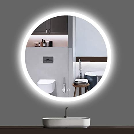 Amazon Com Keonjinn Led Round Mirror 24 Inch Bathroom Vanity Mirror Dimmable Circle Wall Mounted Mirror Anti Fog Lighted Makeup Mirror Kitchen Dining