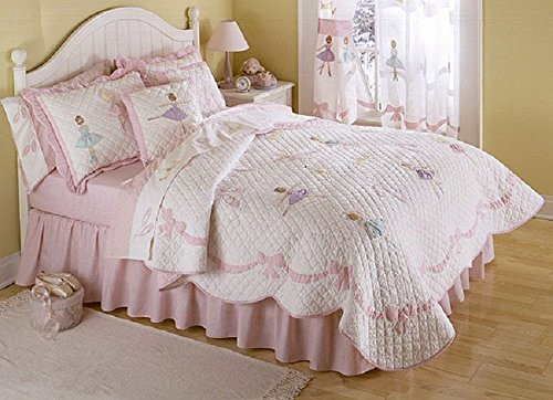 3 Piece Girls Pink Ballerina Twinkle Theme Quilt Full/Queen Set, Adorable Pretty Ballet Bedding, Rich Diamond Patchwork, All Over Lovely Dancers Pattern, Bow Bodered, Solid Reversible Bedding, Cotton