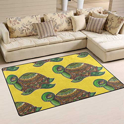 Boho Sea Turtle Tortoise Yellow Area Rugs 5' x 3' Door Mats Indoor Polyester Non Slip Multi Rectangle Carpet Kitchen Floor Runner Decoration for Home Bedroom Living Dining Room