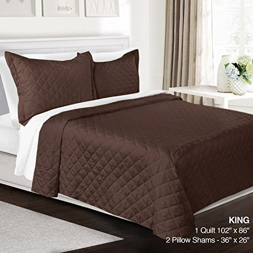 3 Piece Quilt Set King Size By Clara Clark– Luxury Bedspread Coverlet Soft All Season Microfiber – Machine Washable - Comes in Many Colors - set includes Quilt & Shams (King Quilt Brown)