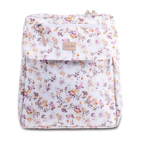 JuJuBe Diaper Bag Backpack + Messenger Bag   Core Convertible   Durable, Stylish, Travel Friendly, Multi Functional, Insulated Bottle Pockets + Changing Pad Included   Petal Perfection
