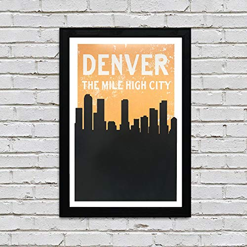 Vintage Denver Skyline Poster Art - Pastel Orange and Black Print - - Pastel Urban