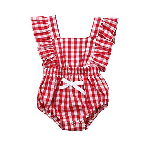 - Newborn Baby Girl Striped Bubble Romper Jumpsuit Outfits Infant Ruffle Sleeveless Bodysuit Summer Clothes (red Plaid, 6-12 Months)