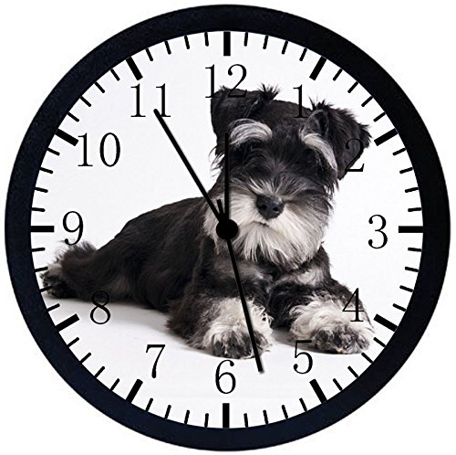 (Rusch Inc. Miniature Schnauzer Black Frame Wall Clock E243 Nice For Gift or Home Office Wall Decor 10