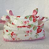 Pink Floral Fabric Basket Set made with Cath Kidston Rosali Fabric - set of three nesting baskets