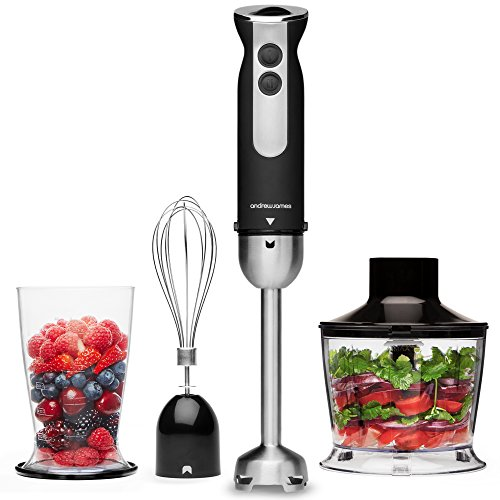 Andrew James Hand Blender 3 in 1 Set Electric with Whisk & Chopper Plus...