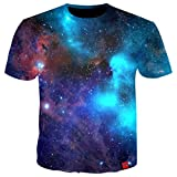 Men T Shirts 3D Printing Space Galaxy Casual Loose Summer Tops Short Sleeve O-Neck Men Tee Shirts Plus 5XL(Photo Color-XL)