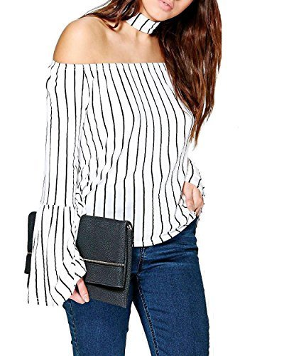 Re Tech UK Dama sin Hombros Rayas Gargantilla Largo Campana Manga Blusa Bardot Top Swing -