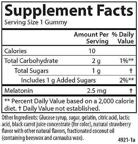 Amazon.com: Carlson Melatonin Gummies - Travel Size, 2.5 mg, Strawberry, Healthy Sleep, 20 Gummies: Health & Personal Care
