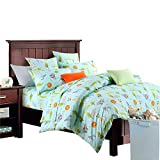 Brandream Toddler Bedding for Boys Woodland Bedding Animals Elephants Zebra Giraffe Lion Printed Duvet Cover Set 3-Piece Full Size 100% Egyptian Cotton(No Comforter Included)