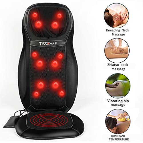 Back Massager for Chair, Shiatsu Neck & Back Massage Pad with Heat [Upgraded 12 Deep Kneading Nodes] for Relieve and Relax Muscle Pain Home Car Office Use